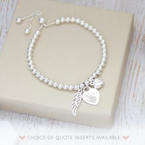 Sterling Silver Engraved Memorial Bracelet With Prints