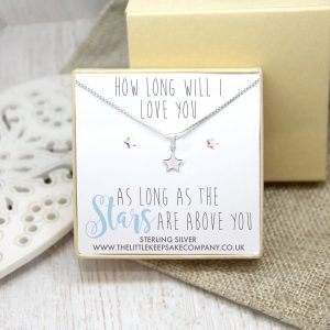 Sterling Silver Gift Set - 'How Long Will I Love You, As Long As The Stars Are Above You'