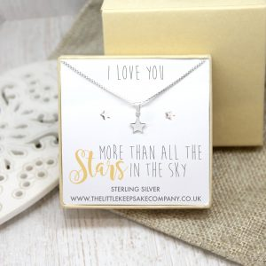 Sterling Silver Gift Set - 'I Love You More Than All The Stars In The Sky'