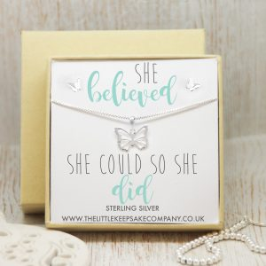 Sterling Silver Gift Set - 'She Believed She Could, So She Did'