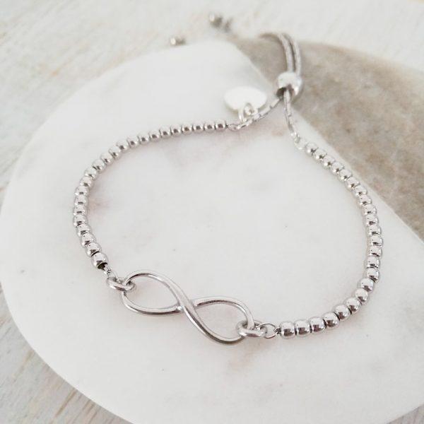 Sterling Silver Infinity Ball Slider Bracelet