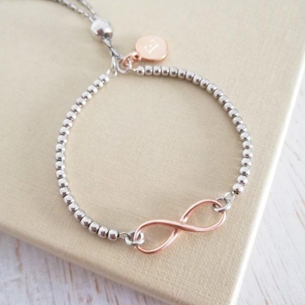 Sterling Silver & Rose Gold Vermeil Infinity Ball Slider Bracelet