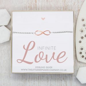 Sterling Silver & Rose Gold Vermeil Infinity Slider Bracelet - 'Infinite Love'
