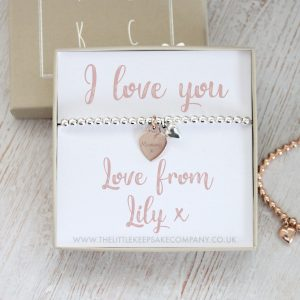 Sterling Silver & Rose Gold Vermeil Personalised Gift Bracelet