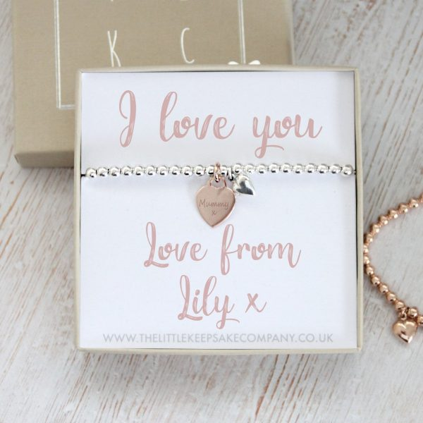 Sterling Silver & Rose Gold Vermeil Personalised Gift Bracelet