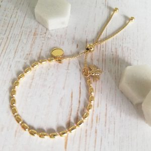 Yellow Gold Vermeil Seed Slider Bracelet - Yellow Gold Vermeil Honey Bee