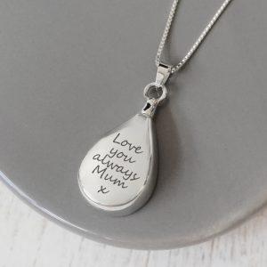 Sterling Silver Engraved Teardrop Urn Necklace