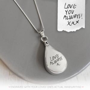 Sterling Silver Handwriting Teardrop Urn Necklace
