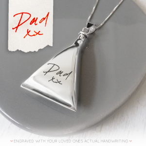 Sterling Silver Handwriting Triangle Urn Necklace