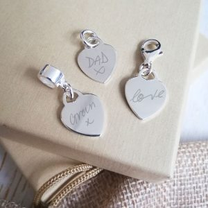Sterling Silver Engraved Heart Charm With Handwriting
