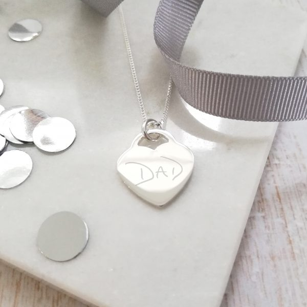 Sterling Silver Handwriting Heart Bouquet Charm