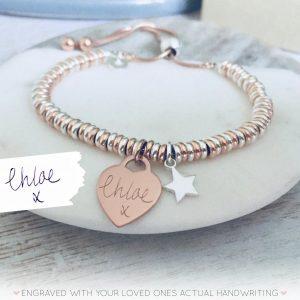 Sterling Silver & Rose Gold Vermeil Sweetie Slider Bracelet - Silver Dinky Star & Engraved Rose Gold Heart With Handwriting