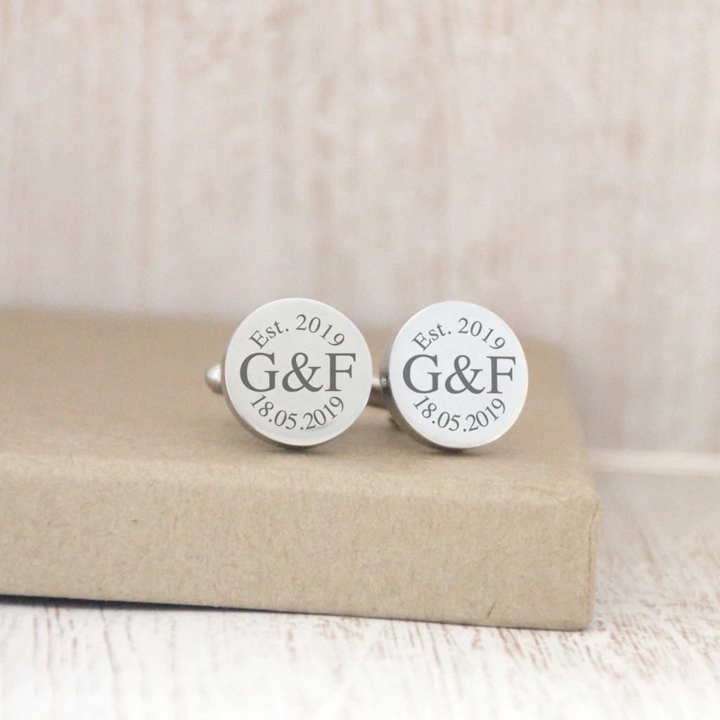 ROSE GOLD Personalised Engraved Monogram RECTANGLE Cufflinks Personalised Engraved Gift Box Available Wedding and Birthday Gift