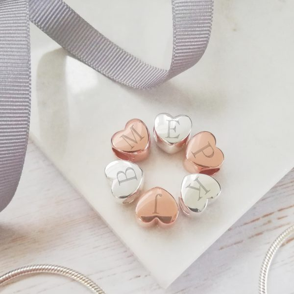 Rose Gold Vermeil Engraved Initial Heart Bead