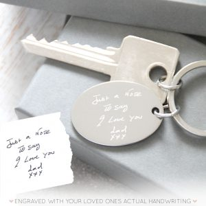 Stainless Steel Engraved Handwriting Keyring