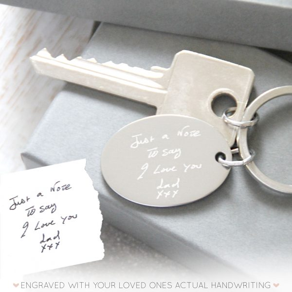 Stainless Steel Engraved Handwriting Keyring