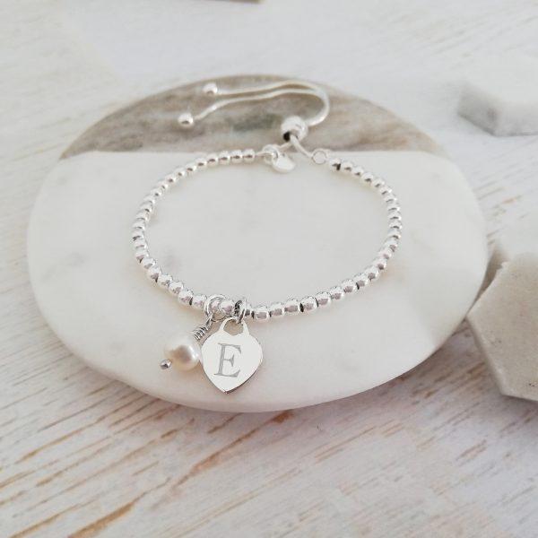 Personalised Sterling Silver Ball Slider Bracelet - Dainty Silver Engraved Heart & Pearl