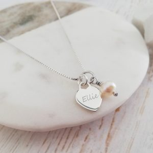 Personalised Sterling Silver Necklace - Dainty Silver Engraved Heart & Pearl