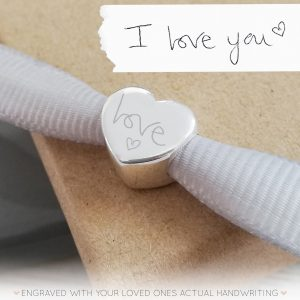 Sterling Silver Engraved Heart Bead With Handwriting