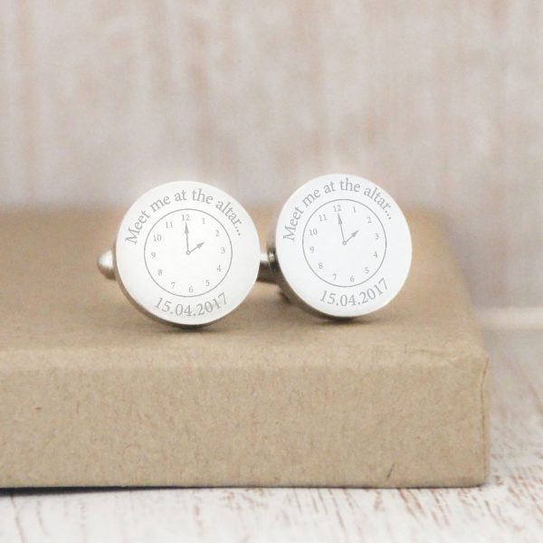 Stainless Steel Engraved Circle 'A Moment In Time' Cufflinks