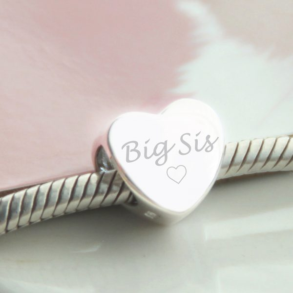 Sterling Silver Engraved 'Big Sis' Heart Bead