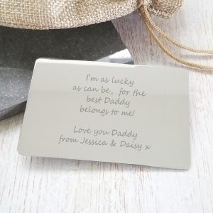 Stainless Steel Engraved 'Just Words' Wallet Card