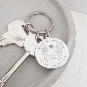 Stainless Steel Engraved Circle Keyring 'Your Wings Were Ready'