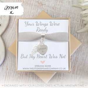 Sterling Silver Engraved 'Your Wings Were Ready' Heart Charm With Handwriting