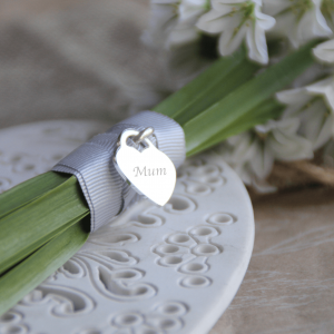 Sterling Silver 'Just Words' Engraved Heart Bouquet Charm