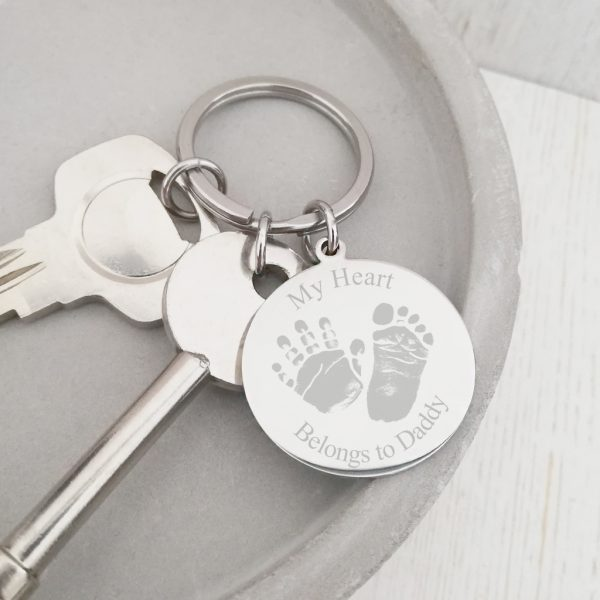 Stainless Steel Engraved Keyring With Prints - 'My Heart Belongs To...'