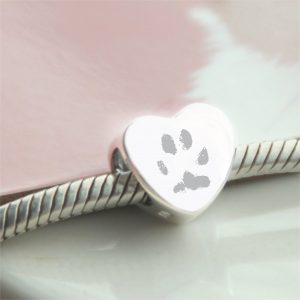 Sterling Silver Engraved Heart Bead With Paw Prints