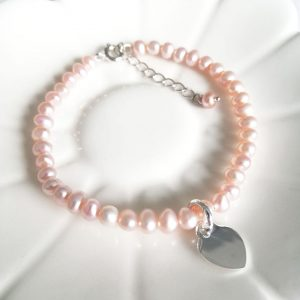 Pearl Children's Bracelet - With Dinky Heart Initial Charm