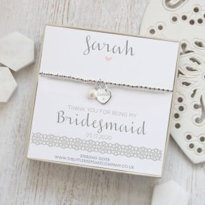 Personalised Sterling Silver Ball Slider Bracelet - Dainty Silver Engraved Heart & Pearl