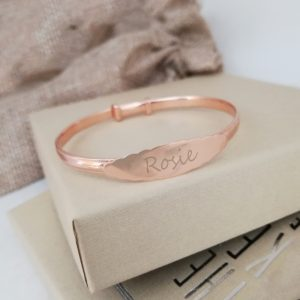 Rose Gold Vermeil Baby Bangle With Scalloped Design