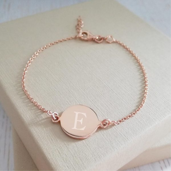 Rose Gold Vermeil Engraved Dainty Coin Bracelet
