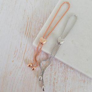 Rose Gold Vermeil Engraved Initial Heart Pebble Slider Bracelet