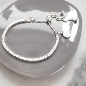 Sterling Silver Box Slider Bracelet - Silver Initial Disc