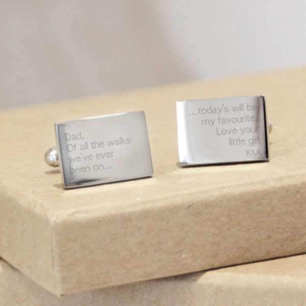 Stainless Steel Engraved Rectangle Cufflinks 'Dad, Of All The Walks'