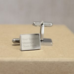 Stainless Steel Engraved Rectangle 'Just Words' Cufflinks