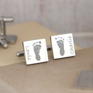 Stainless Steel Engraved Square Cufflinks With Footprints