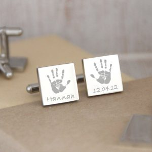 Stainless Steel Engraved Square Cufflinks With Handprints
