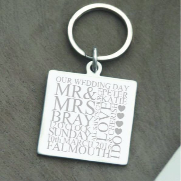 Stainless Steel Engraved 'Our Wedding Day' Square Keyring