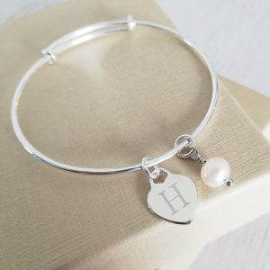 Sterling Silver Baby Bangle - With Dainty Heart & Pearl Charms