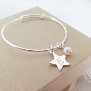Sterling Silver Baby Bangle - With Mini Star & Pearl Charms