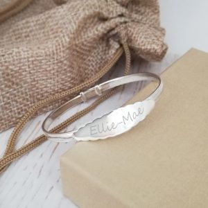 Sterling Silver Baby Bangle With Scalloped Design