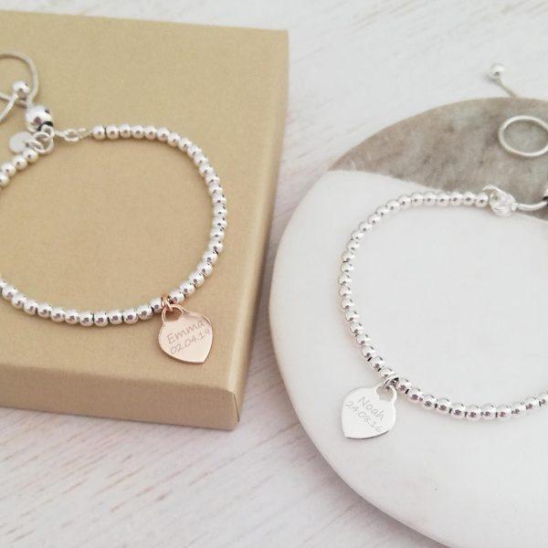 Sterling Silver Ball Slider Bracelet - Dainty Silver Heart Charm