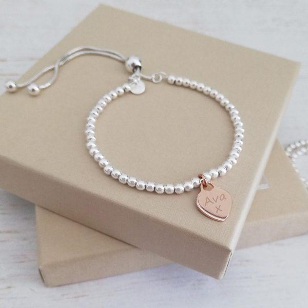 Sterling Silver Ball Slider Bracelet - Engraved Dainty Rose Gold Heart Charm