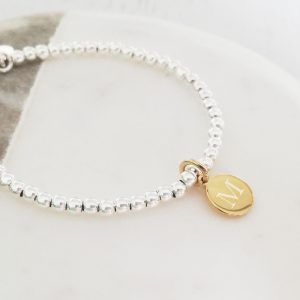 Sterling Silver Ball Slider Bracelet - Yellow Gold Vermeil Initial Disc