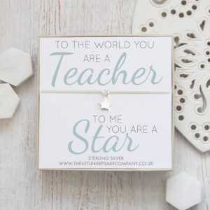 Sterling Silver Curb Chain Star Bracelet - 'To The World You Are A Teacher, To Me You Are A Star'