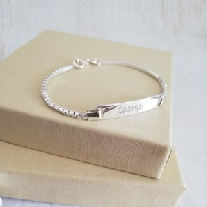 Sterling Silver Engraved Children's Box Chain Bracelet